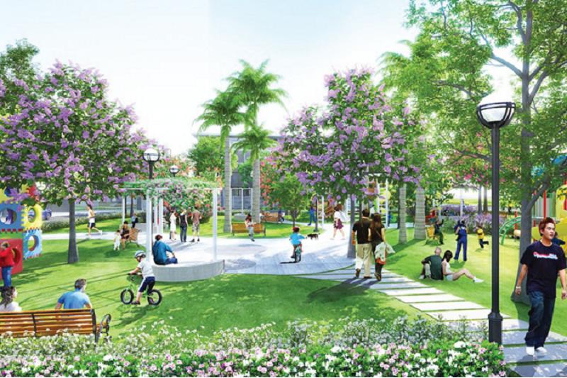 công viên trong dự án liền kề Green Little Town Cổ Bi - Gia Lâm