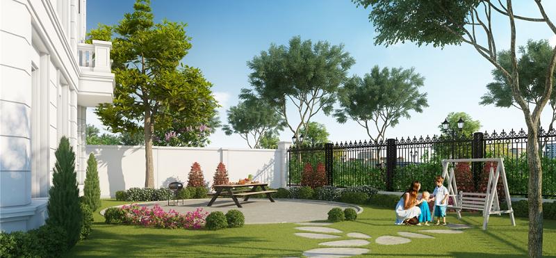 khuôn viên Elegant Park Villa Thạch Bàn Mik