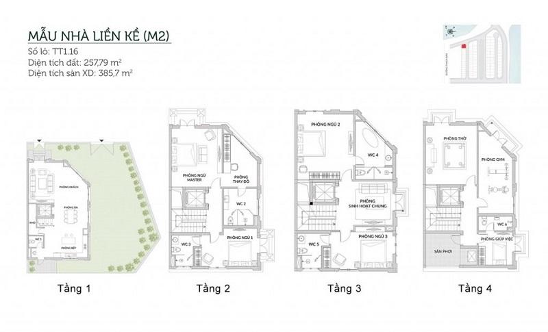 Mẫu liền kề M2 Elegant Park Villa Thạch Bàn Mik