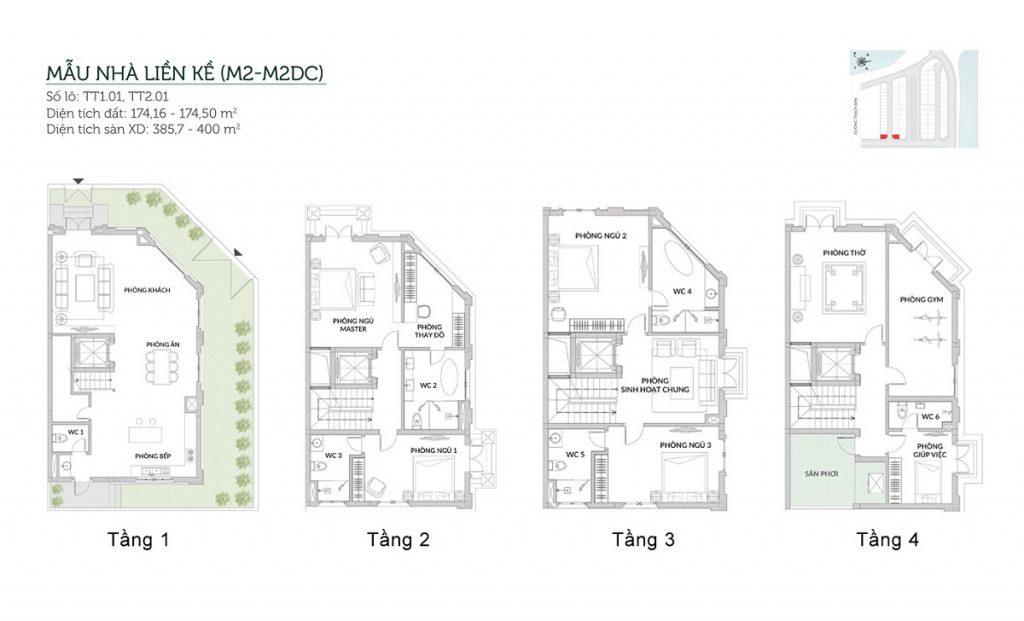 mẫu liền kề M2-M2DC Elegant Park Villa Thạch Bàn Mik