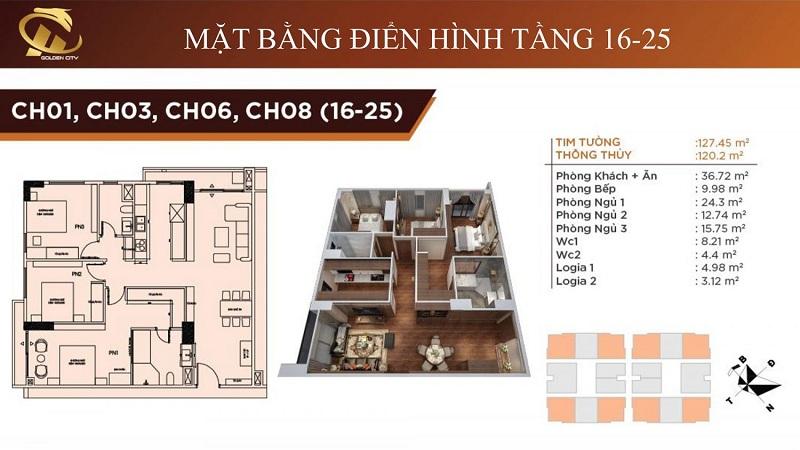 Thiết kế căn hộ số 01-03-06-08  3D  từ tầng 16-25 chung cư HC Golden City
