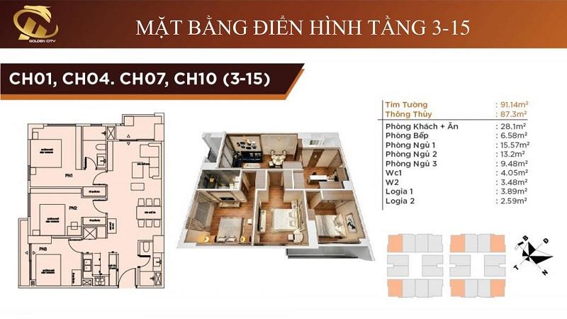 Thiết kế căn hộ 01-04 07 10  3D từ tầng 3-15 chung cư HC Golden City Bồ Đề