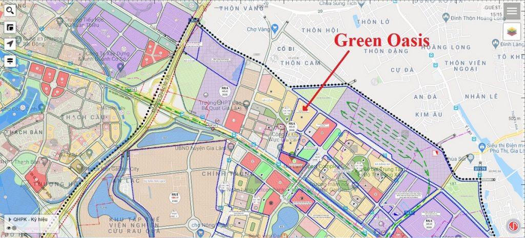 vi trí dự án liền kề green oasis Cổ Bi Gia Lâm