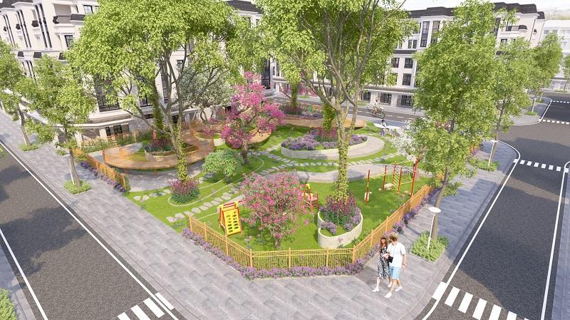 vườn hoa dự án liền kề Green Little Town Cổ Bi - Gia Lâm