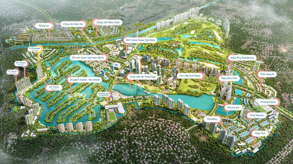 mặt bằng tổng thể dự án Ecopark