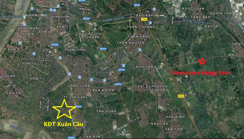 Vị trí khu đô thị sinh thái Xuân Cầu Văn Giang