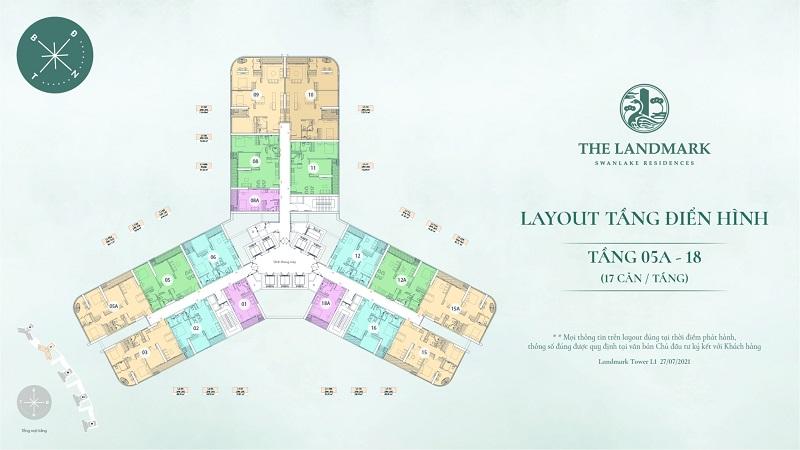 Layout tầng điển hình 5A - 18 Landmark