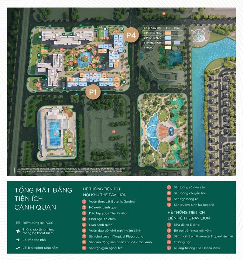 Mặt bằng và tiện ích cảnh quan phân khu The Pavilion dự án The Ocean View - Vinhomes Ocean Park - Đa tốn - Gia Lâm