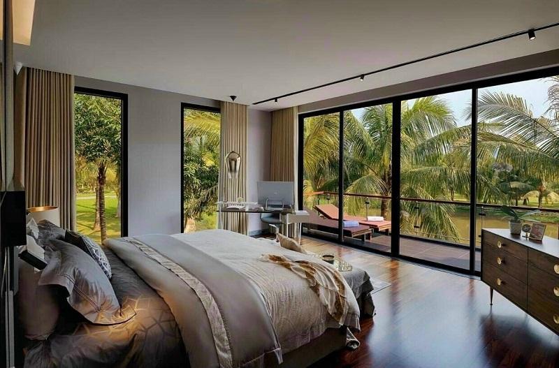 ảnh thực tế phòng ngủ căn hộ mẫu biệt thự đảo Ecopark