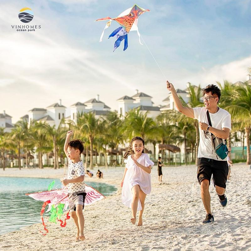Bãi cát trắng tại Khu đô thị Vinhomes Ocean Park - Đa Tốn - Gia Lâm