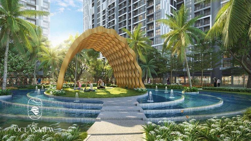Hồ cảnh quan và đảo Yoga nội khu Chung cư Pavilion - Vinhomes Ocean Park - Đa Tốn - Gia Lâm