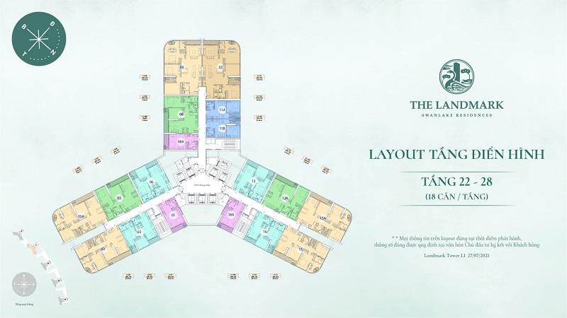 Layout tầng điển hình 22-28 Landmark