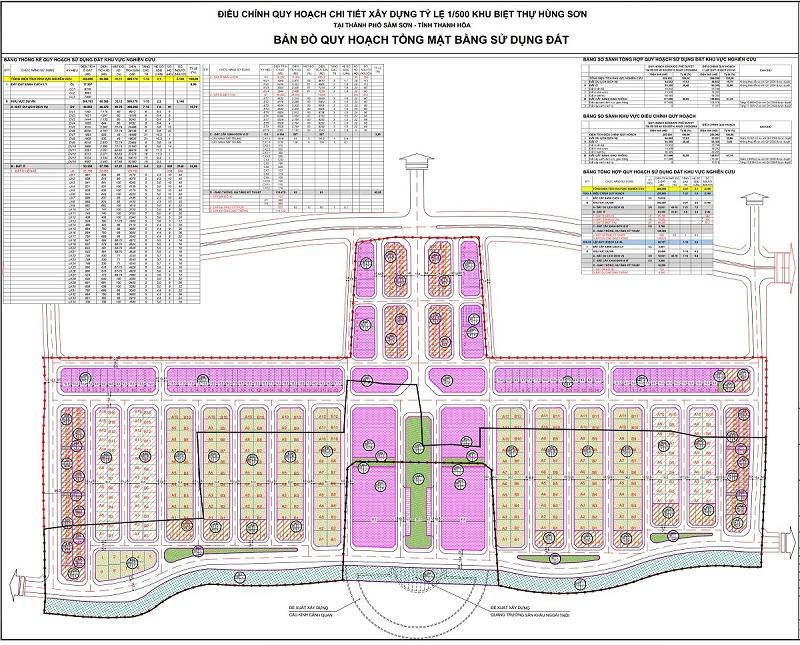Mặt bằng phân lô khu đô thị Vlasta - Nam Sầm Sơn