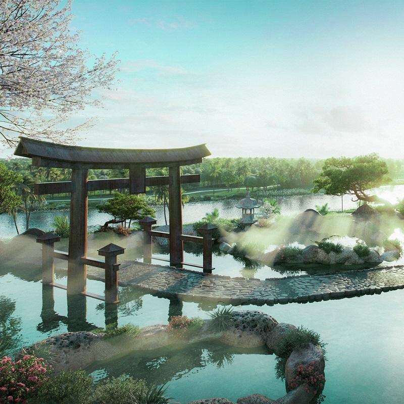 Phối cảnh 2 vườn Nhật tại tổ hợp khoáng nóng Landmark Ecopark