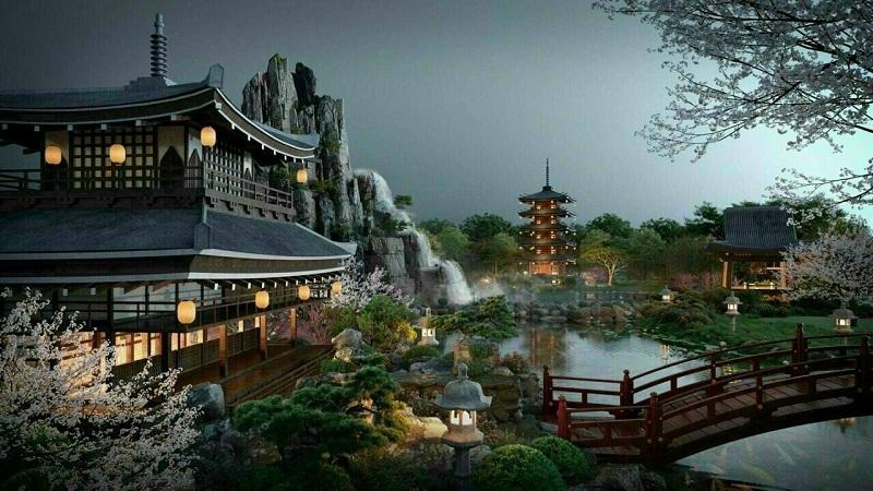 Phối cảnh 4 vườn Nhật tại tổ hợp khoáng nóng Landmark Ecopark