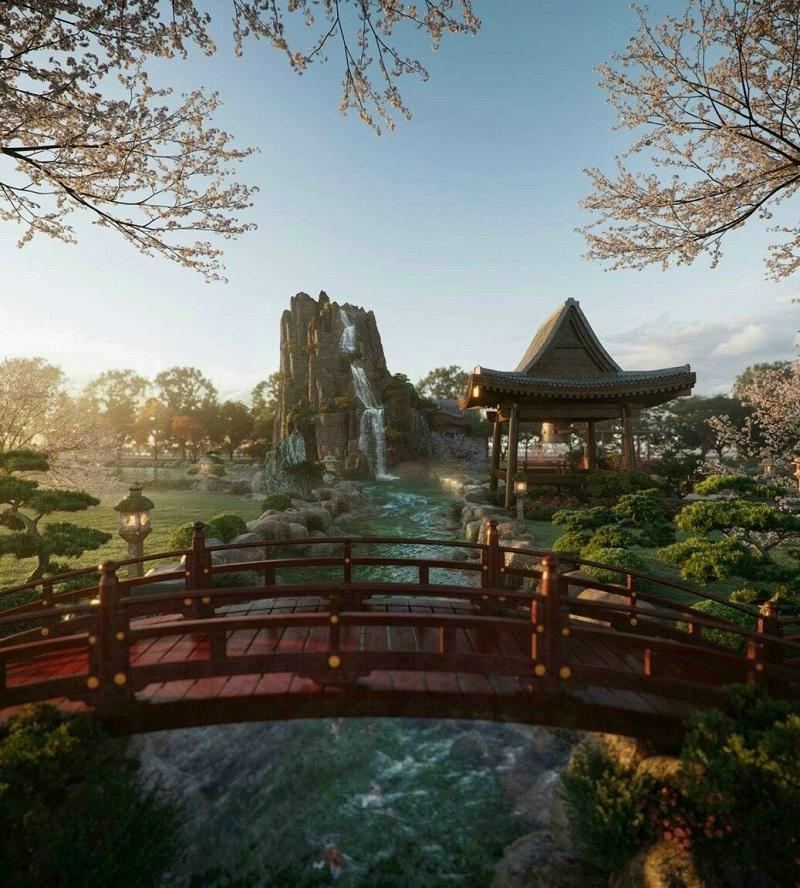 Phối cảnh 5 vườn Nhật tại tổ hợp khoáng nóng Landmark Ecopark