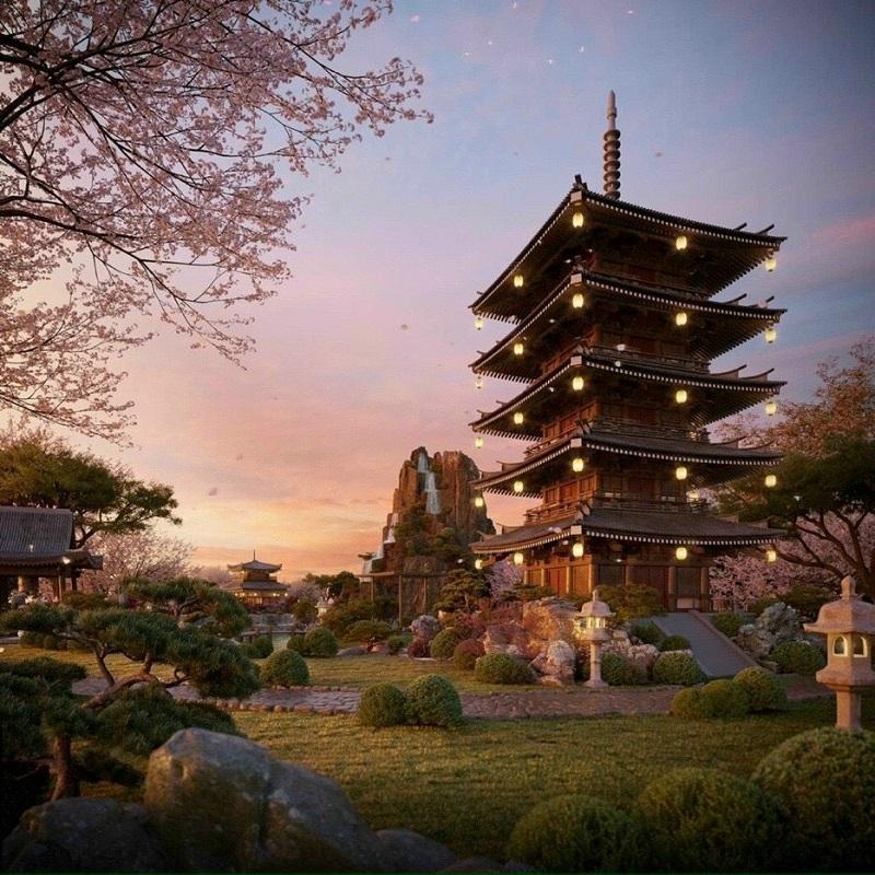 Phối cảnh 6 vườn Nhật tại tổ hợp khoáng nóng Landmark Ecopark