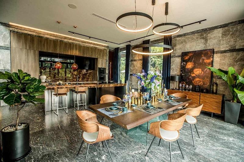 phòng bếp căn hộ mẫu biệt thự đảo Ecopark