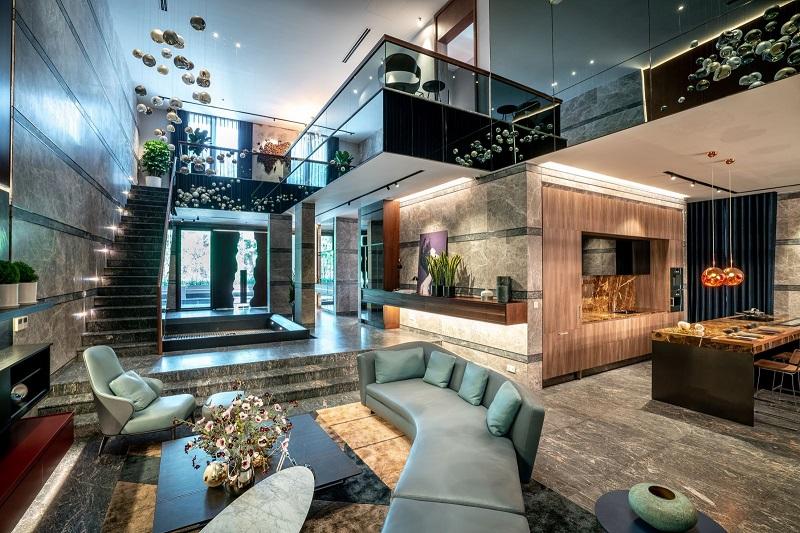 Phòng khách căn hộ mẫu biệt thự đảo tại khu đô thị Ecopark 2