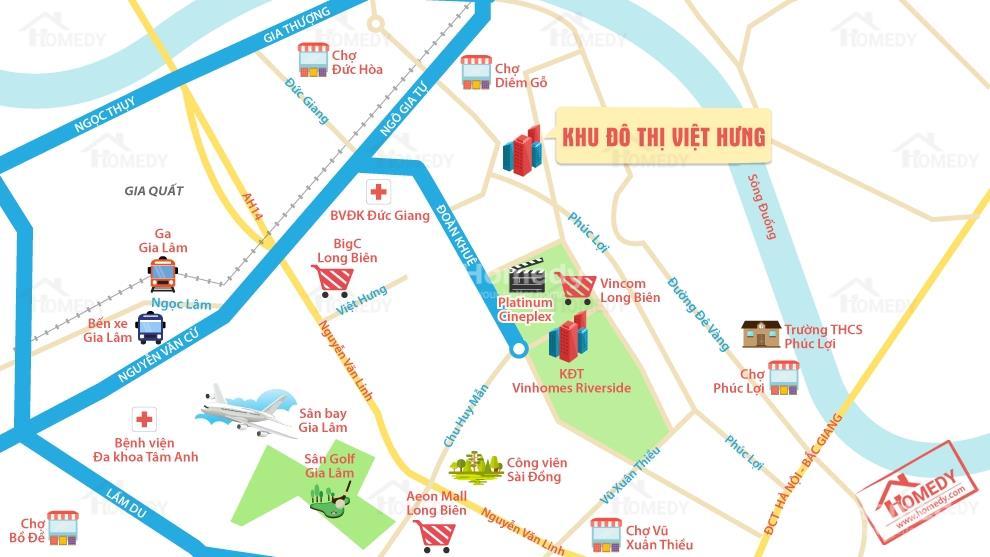 Tiện ích kết nối xung quanh khu đô thị Việt Hưng