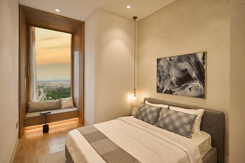 Ảnh thực tế phòng ngủ căn hộ mẫu Lancaster Luminaire