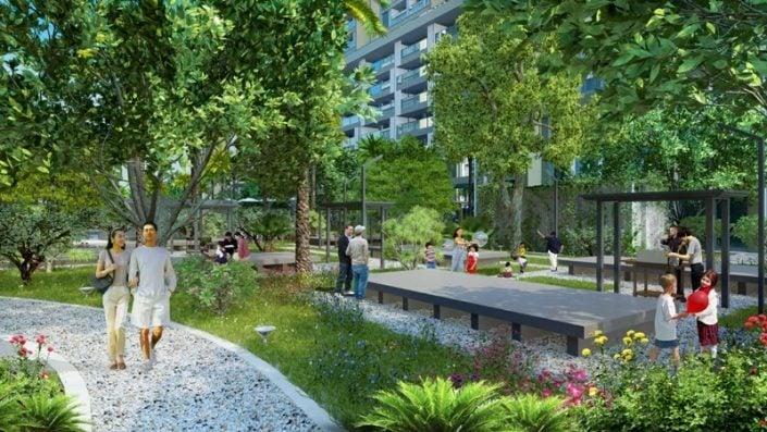 Phối cảnh khuôn viên nội khu Eco Smart City Long Biên