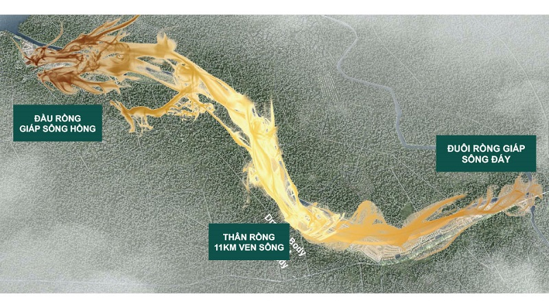 Thế đất Rồng Thiêng Hạ Thủy của Sunshine Heritage Phúc Thọ - Hà Nội