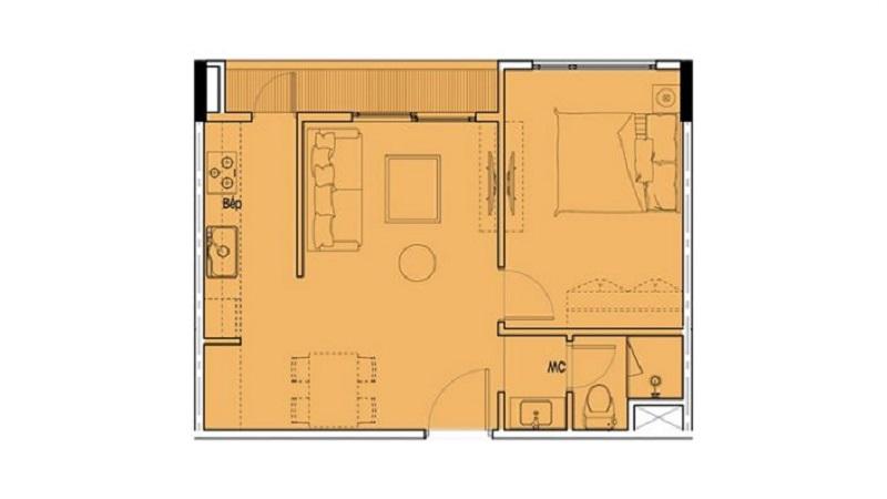Mặt bằng căn hộ 1PN + 1  Eco Smart City Cổ Linh