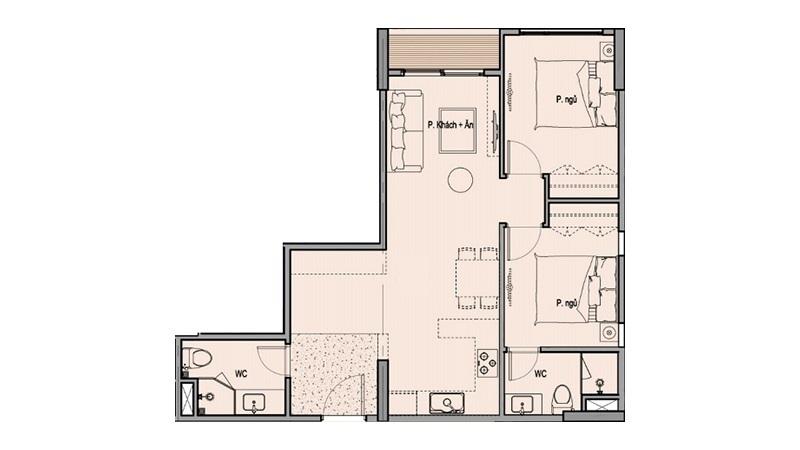 Mặt bằng căn hộ 2 ngủ Eco Smart City Cổ Linh