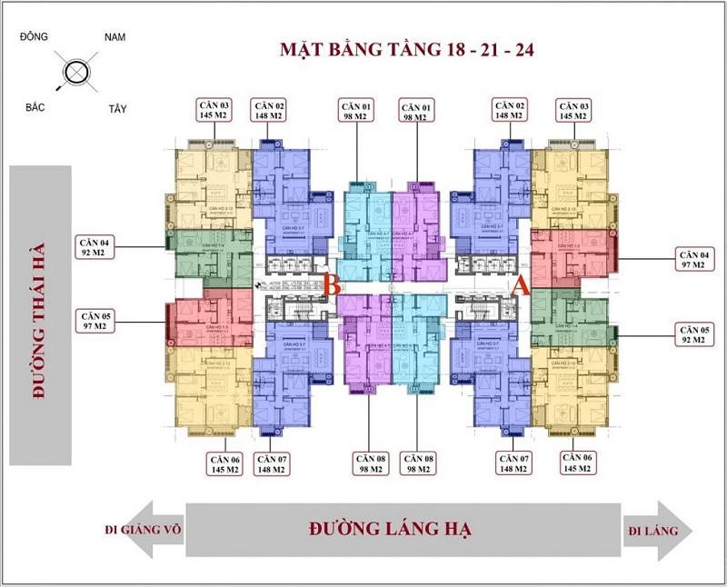 Mặt bằng căn hộ tầng 18-24 chung cư Green Diamond 93 Láng Hạ
