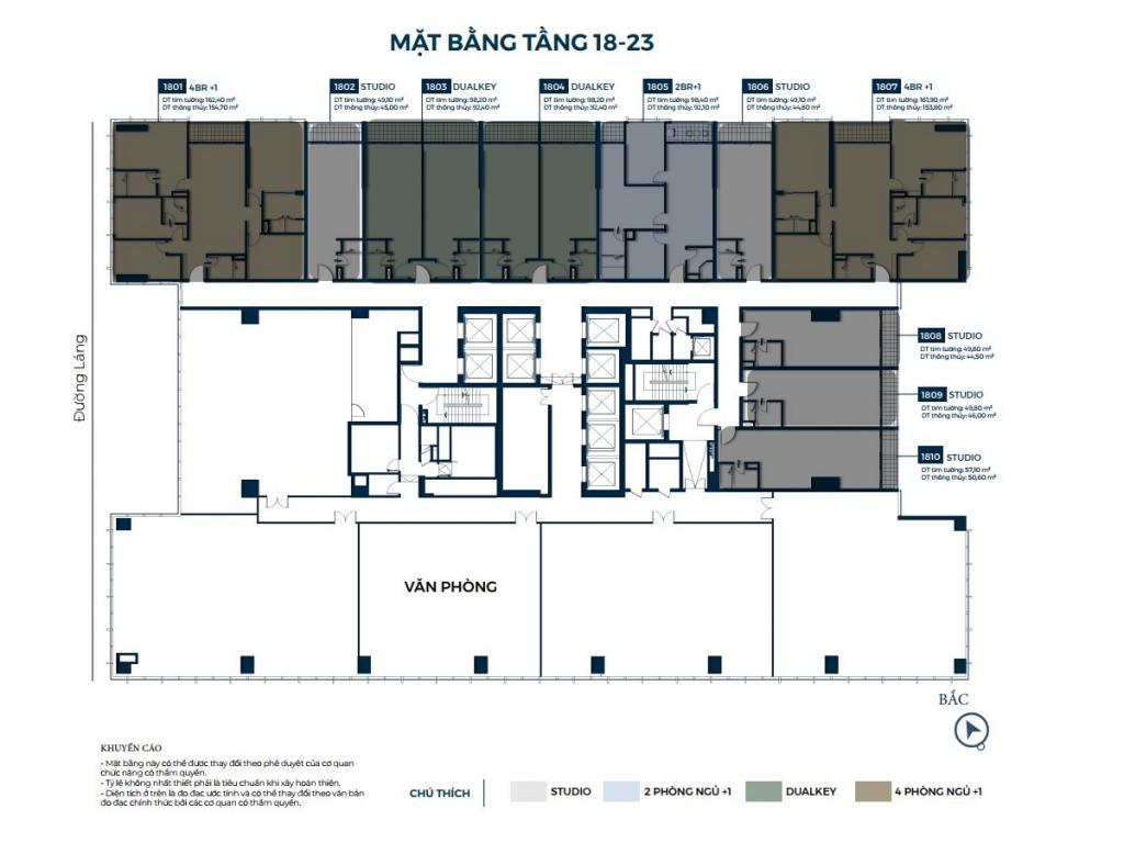 Mặt bằng căn hộ tầng 18-23 Lancaster Luminaire 1152-1154 Đường Láng
