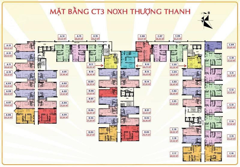 Mặt bằng CT3 Chung cư Him Lam Thượng Thanh