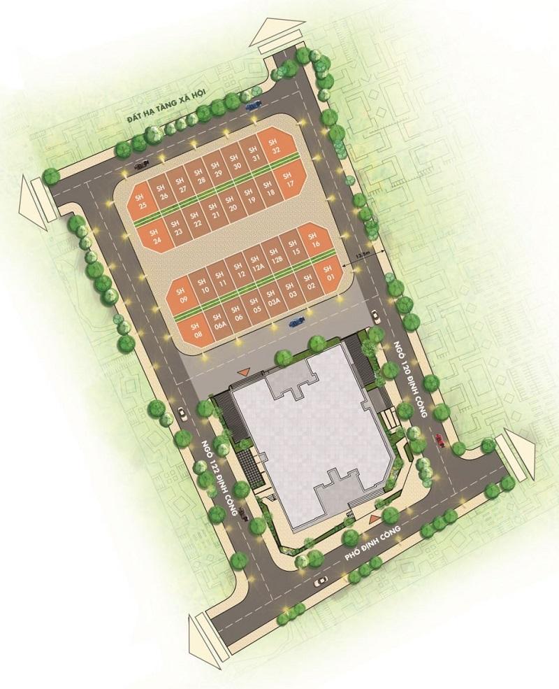Mặt bằng nhà phố T&T DC Complex 120 Định Công