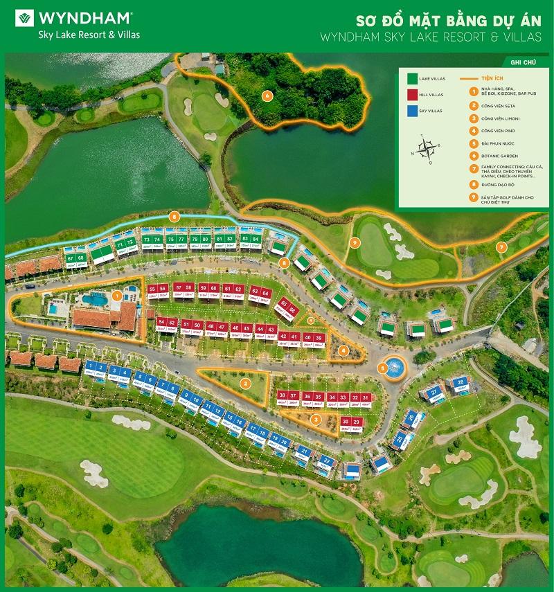 Mặt bằng phân lô Wyndham Sky Lake Resort Chương Mỹ