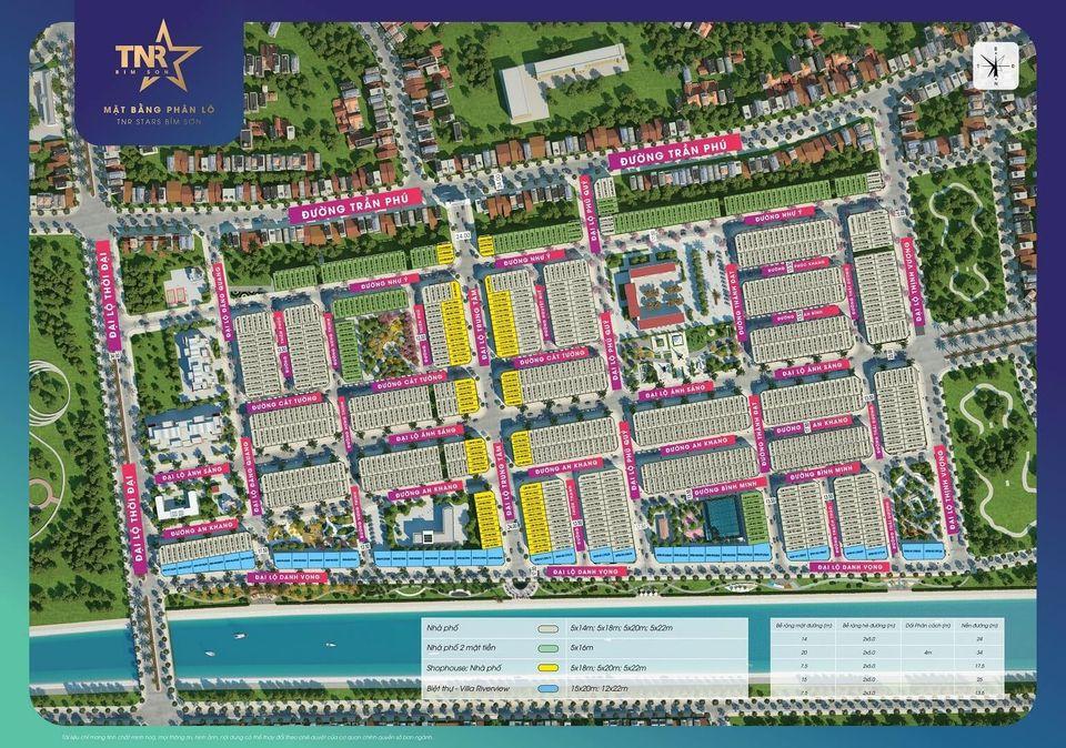 Mặt bằng phân lô khu đô thị TNR Stars Bỉm Sơn - Thanh Hóa
