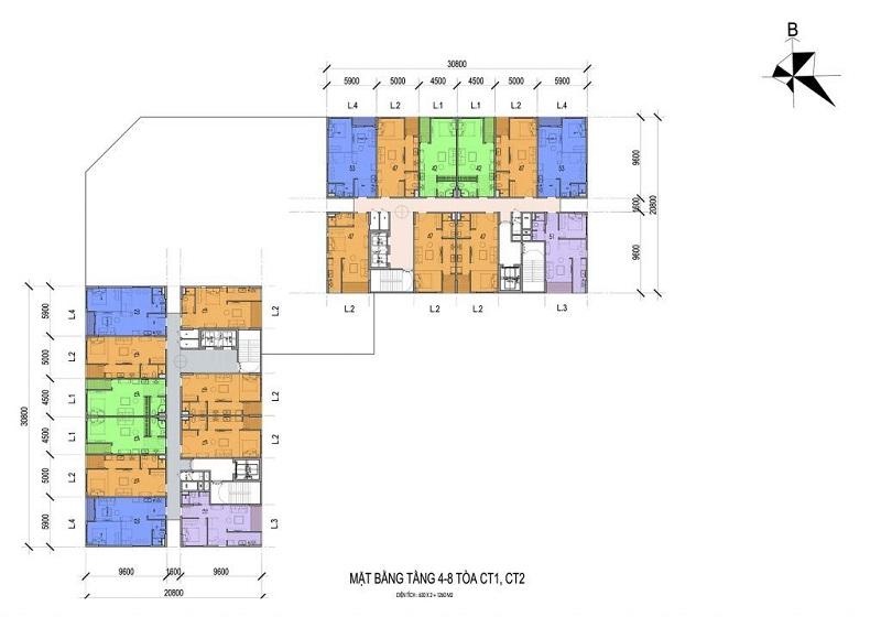 Mặt bằng tầng 4-8 tòa CT1, CT2 Eco Smart City Long Biên