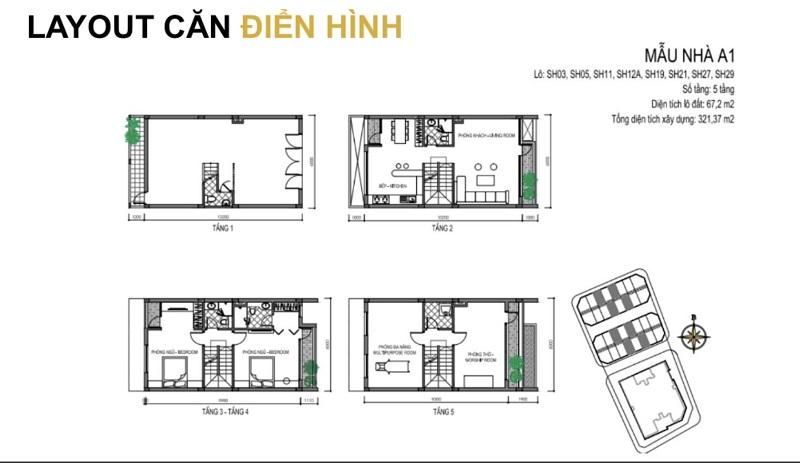 Mẫu thiết kế A1 shophouse T&T DC Complex 120 Định Công