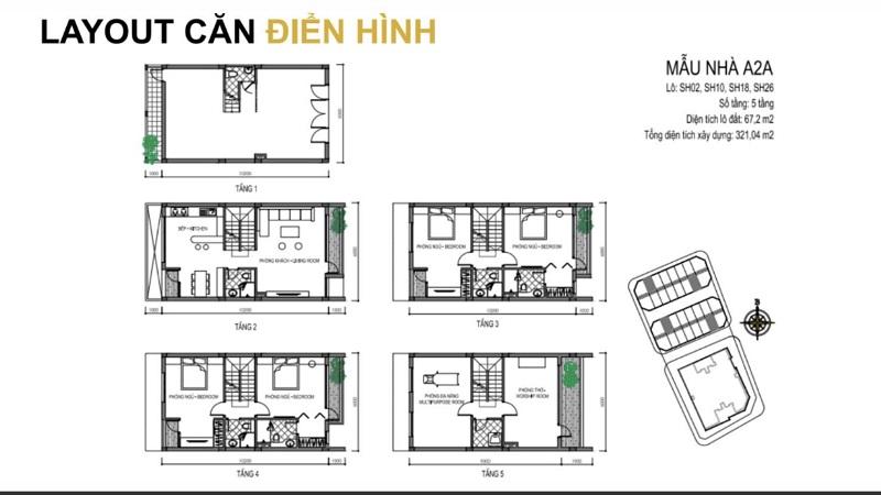 Mẫu thiết kế A2A shophouse T&T DC Complex 120 Định Công