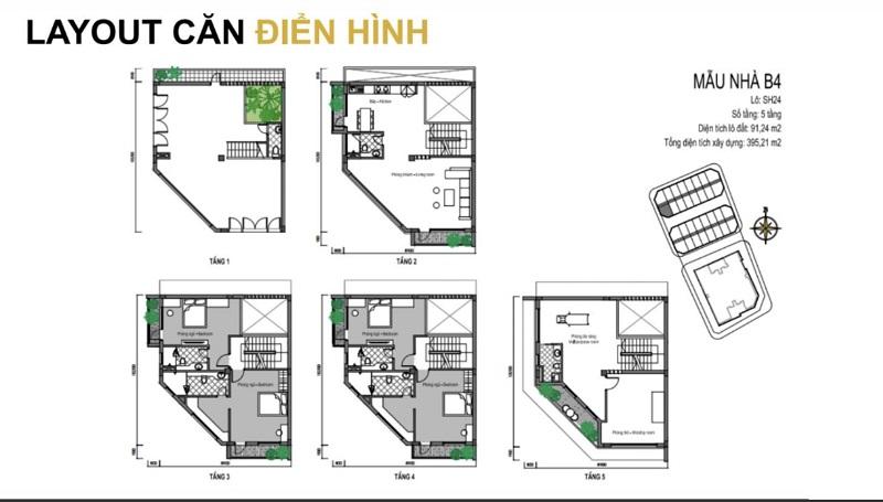 Mẫu thiết kế B4 shophouse T&T DC Complex 120 Định Công