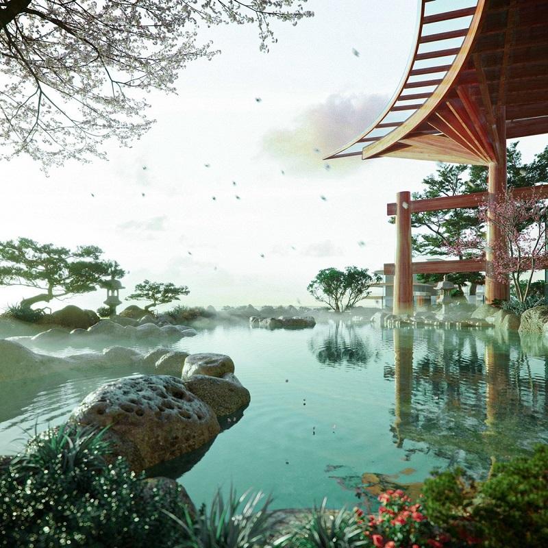 Phối cảnh vườn Nhật dự án Ecopark