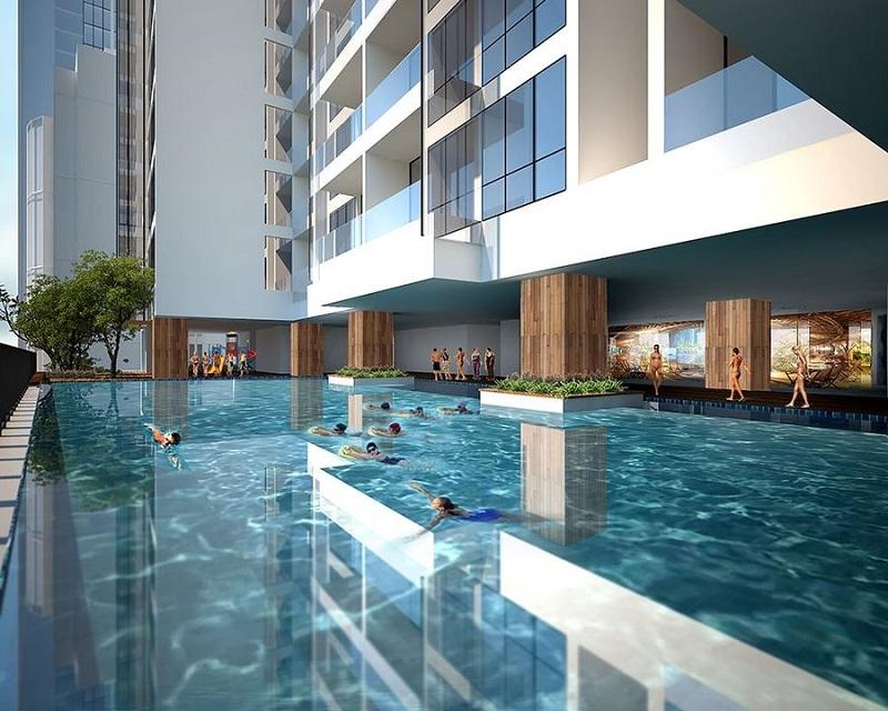 Phối cảnh bể bơi vô cực tại dự án Green Diamond 93 Láng Hạ