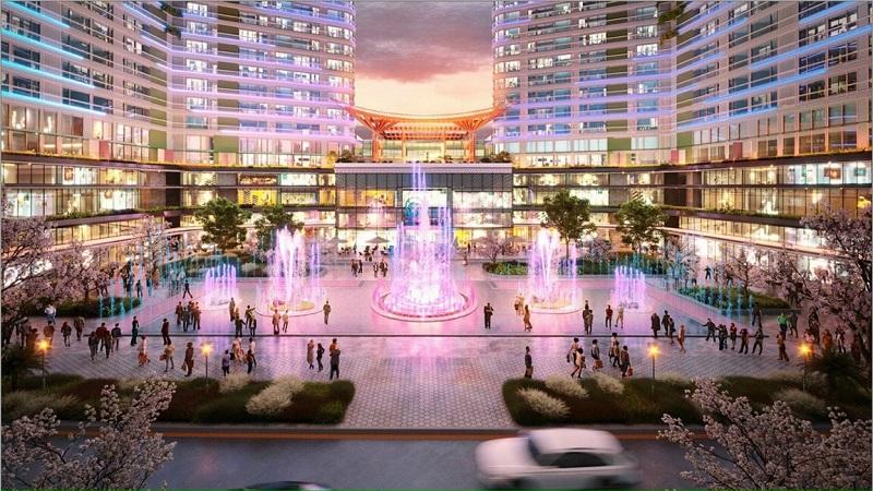 Phối cảnh quảng trường trung tâm chân tòa Landmark Ecopark