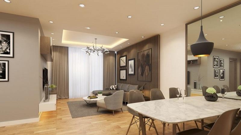 Thiết kế phòng khách chung cư Green Diamond Building 93 láng hạ