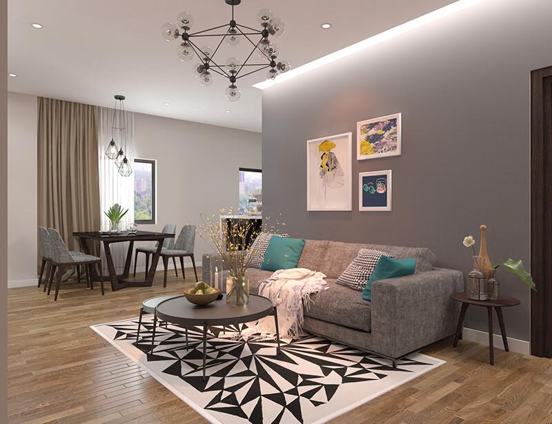 Phòng khách căn 1PN + 1 Eco Smart City Cổ Linh