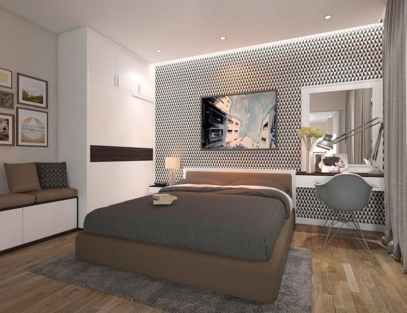 Phòng ngủ căn 1PN + 1 Eco Smart City Cổ Linh