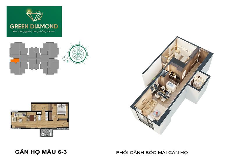 Thiết kế căn hộ 1n diện tích 50m2 dự án chung cư Green Diamond 93 Láng Hạ