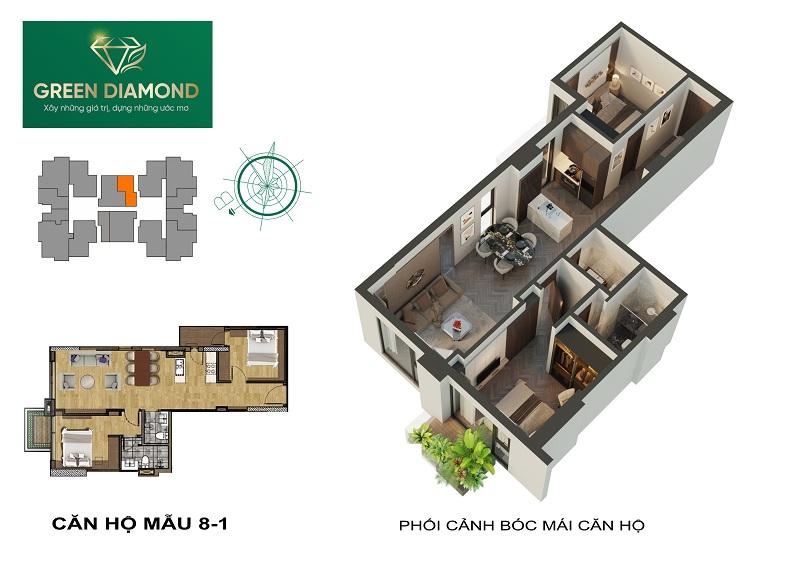Thiết kế căn hộ 2n diện tích 72m2 dự án chung cư Green Diamond 93 Láng Hạ