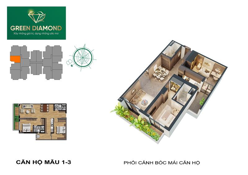 Thiết kế căn hộ 2n diện tích 86m2 dự án chung cư Green Diamond 93 Láng Hạ