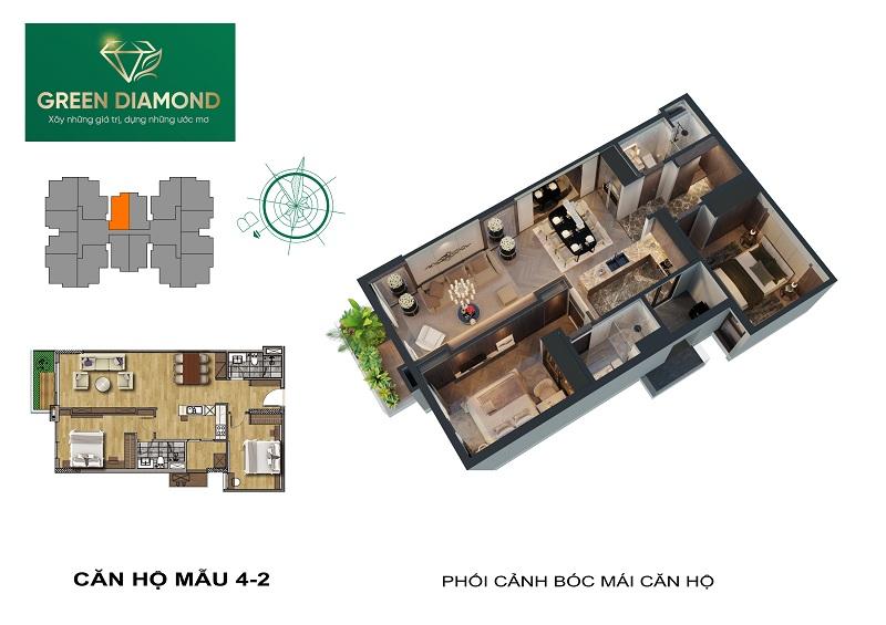 Thiết kế căn hộ 2n diện tích 88m2 dự án chung cư Green Diamond 93 Láng Hạ