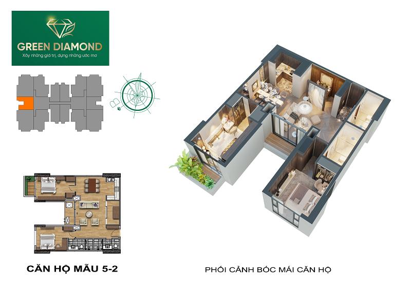 Thiết kế căn hộ 2n diện tích 94m2 dự án chung cư Green Diamond 93 Láng Hạ